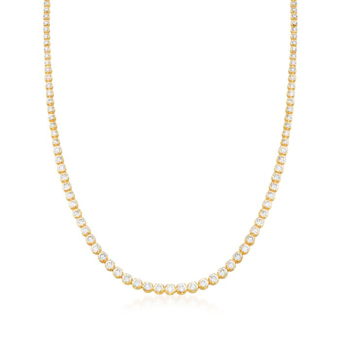 15.00 ct. t.w. Graduated CZ Tennis Necklace in 14kt Gold Over Sterling