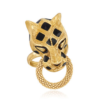 18kt Yellow Gold Panther Doorknocker Ring with Black Enamel, , default