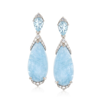 17.30 ct. t.w. Milky Aquamarine and .48 ct. t.w. White Topaz Drop Earrings in Sterling Silver, , default