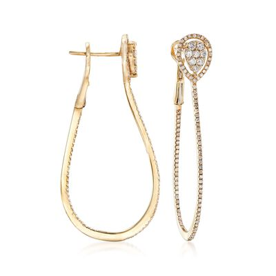 .83 ct. t.w. Diamond Inside-Outside Oval Earrings in 14kt Yellow Gold, , default