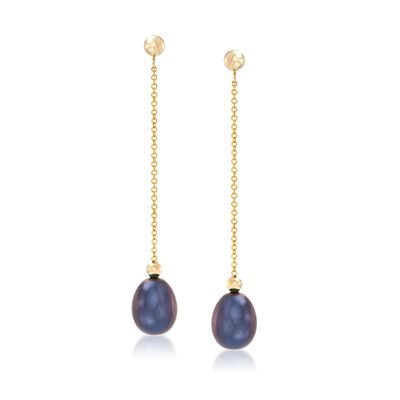 8-8.5mm Black Cultured Pearl Bead and Chain Drop Earrings in 14kt Yellow Gold, , default