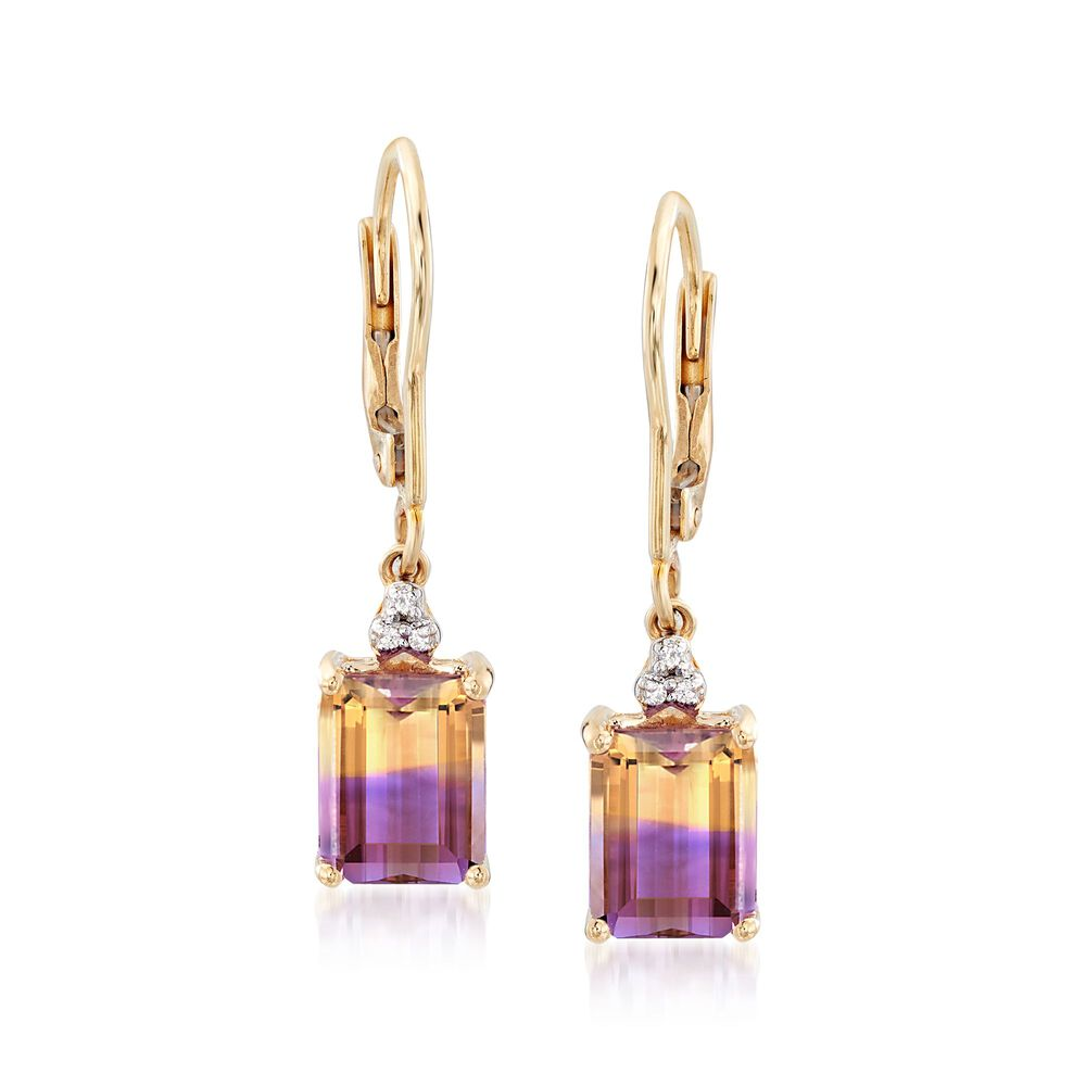 f7ce75e6d t.w. Ametrine Drop Earrings with Diamond Accents in 14kt Yellow Gold, ,