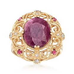 6.10 ct. t.w. Ruby and .10 ct. t.w. Diamond Openwork Ring in 14kt Yellow Gold, , default