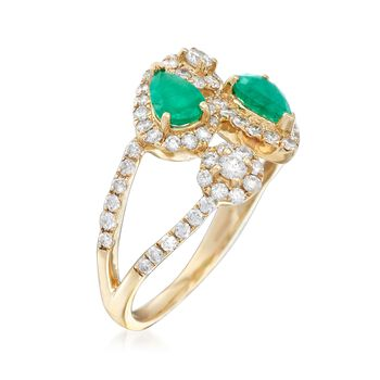 .70 ct. t.w. Emerald and .70 ct. t.w. Diamond Bypass Ring in 14kt Yellow Gold, , default
