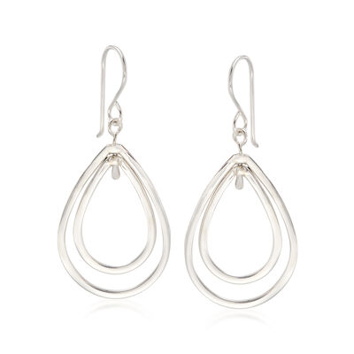 "Zina Sterling Silver ""Wired"" Double Pear-Shaped Drop Earrings, , default"