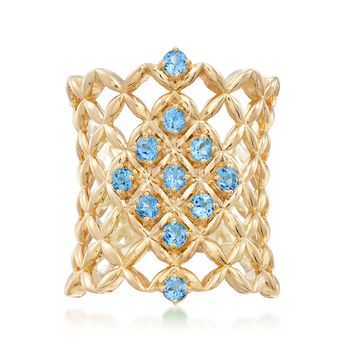 .80 ct. t.w. Blue Topaz Latticework Ring in 18kt Gold Over Sterling, , default