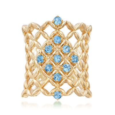 .80 ct. t.w. Blue Topaz Latticework Ring in 18kt Gold Over Sterling, , default