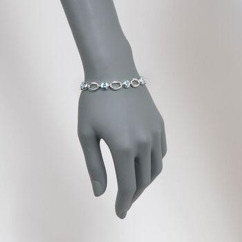 "Zina Sterling Silver 2.10 ct. t.w. Blue Topaz Oval Link Bracelet. 7"", , default"