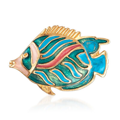 Multicolored Enamel Fish Pin in 18kt Gold Over Sterling, , default