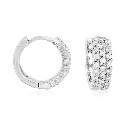 .70 ct. t.w. CZ Triple-Row Huggie Hoop Earrings in Sterling Silver