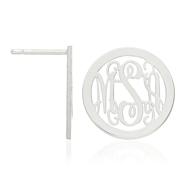 Sterling Silver Laser Polished Medium Monogram Circle Post Earrings