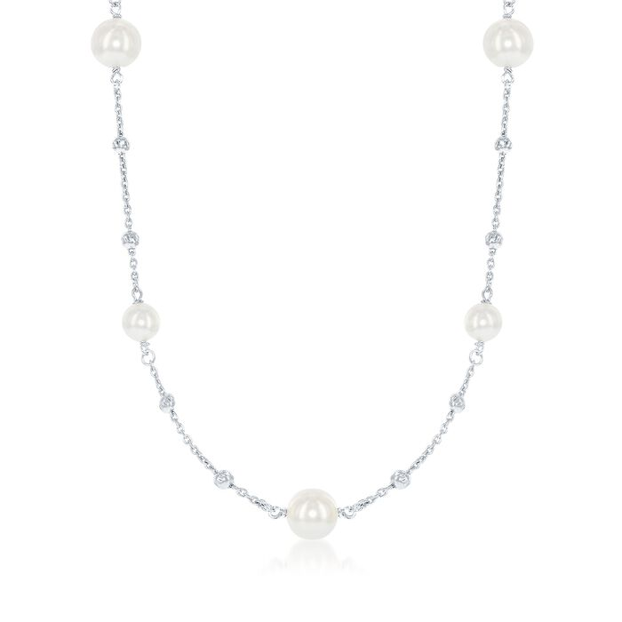 6-8mm Simulated Pearl and Diamond-Cut Bead Station Necklace in Sterling Silver. 28.75""