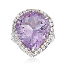 14.00 Carat Amethyst and 1.20 ct. t.w. White Topaz Ring in Sterling Silver, , default