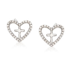 Diamond Accent Heart Cross Earrings in Sterling Silver, , default