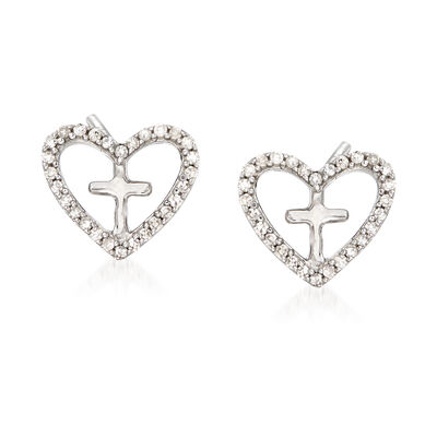 Diamond Accent Heart Cross Earrings in Sterling Silver, , default