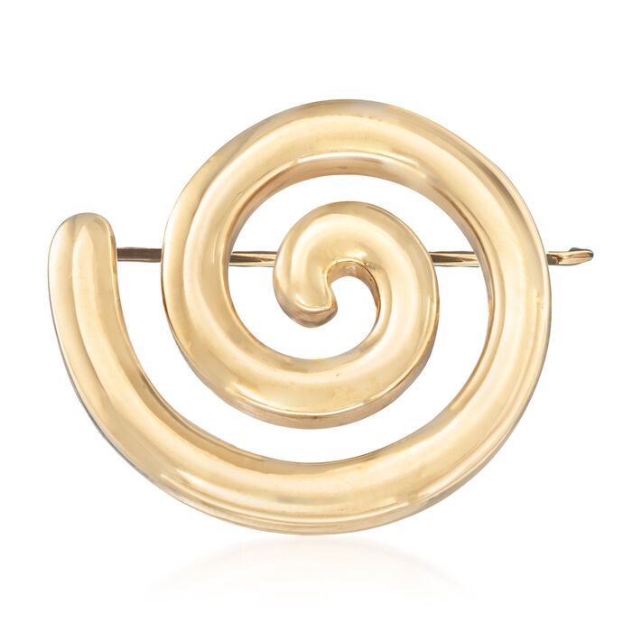 Italian 18kt Yellow Gold Spiral Pin, , default