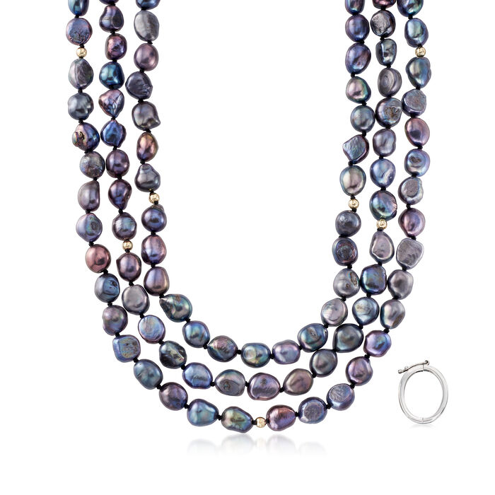 9.5-10.5mm Black Cultured Baroque Pearl Long Necklace in 14kt Yellow Gold with Necklace Shortener