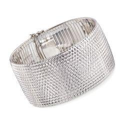 """Italian Sterling Silver Wide Diamond-Cut Bracelet. 8"""", , default"""