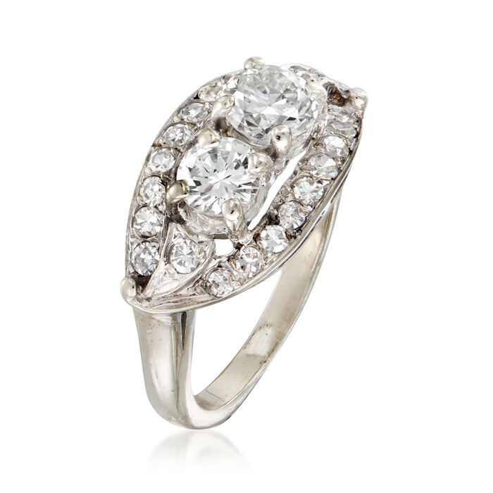 C. 1970 Vintage 1.50 ct. t.w. Diamond Cocktail Ring in 14kt White Gold