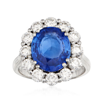 C. 2000 Vintage 5.69 Carat Sapphire and 1.60 ct. t.w. Diamond Ring in 18kt White Gold