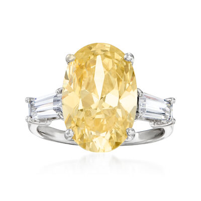 6.35 ct. t.w. Yellow and White CZ Cocktail Ring in Sterling Silver