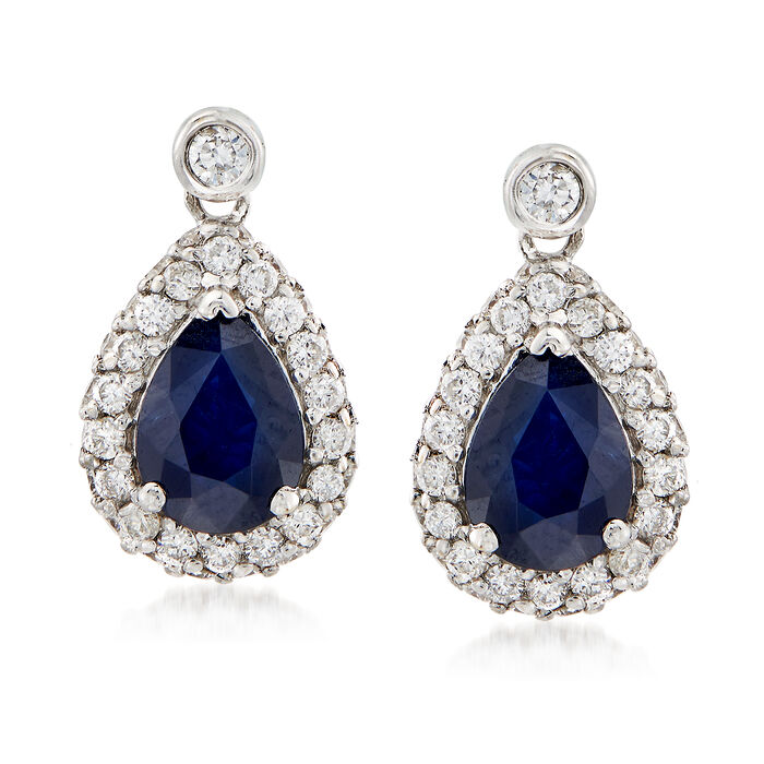 1.60 ct. t.w. Pear-Shaped Sapphire and .65 ct. t.w. Diamond Earrings in 14kt White Gold , , default
