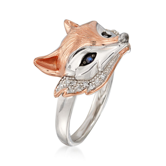 Two-Tone Sterling Silver Fox Ring with Sapphire and Diamond Accents