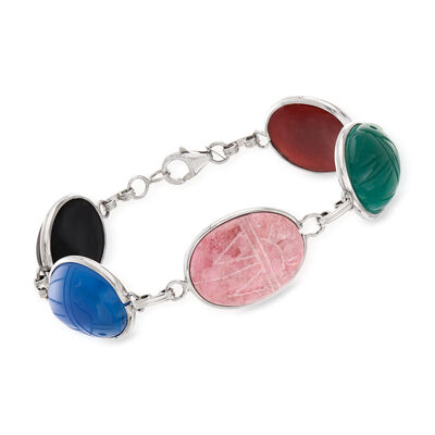 Multi-Gem Scarab Bracelet in Sterling Silver, , default
