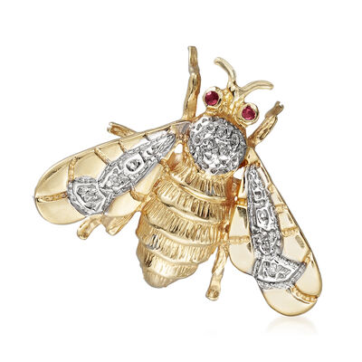 C. 1980 Vintage 14kt Yellow Gold Bee Pin with Diamond and Ruby Accents, , default