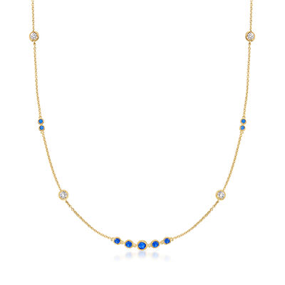 .70 ct. t.w. Simulated Sapphire and .60 ct. t.w. CZ Station Necklace in 18kt Gold Over Sterling