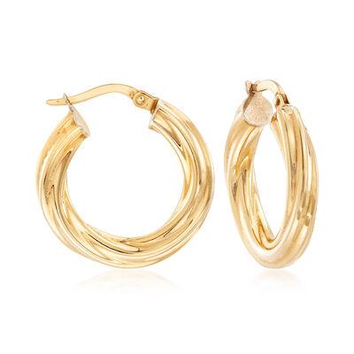 C. 1990 Vintage Twisted Hoop Earrings in 14kt Yellow Gold, , default