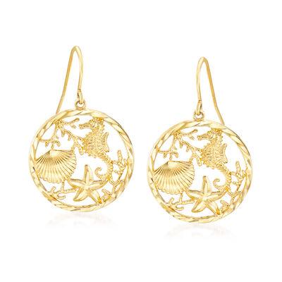 14kt Yellow Gold Sea Life Drop Earrings, , default