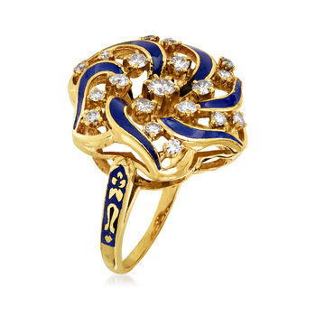 C. 1960 Vintage .80 ct. t.w. Diamond and Blue Enamel Swirl Ring in 14kt Yellow Gold. Size 8, , default