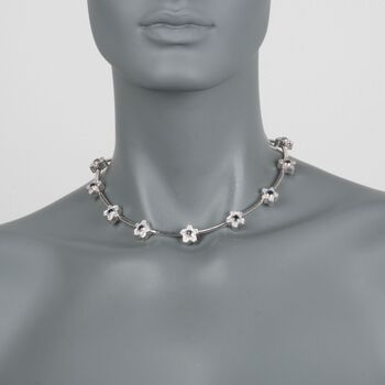 "C. 1990 Vintage 2.00 ct. t.w. Sapphire and 2.00 ct. t.w. Diamond Floral Necklace in 18kt White Gold. 15.5"", , default"