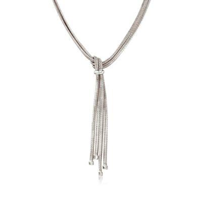 Italian Sterling Silver Two-Strand Tassel Necklace, , default