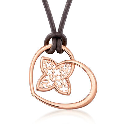 C. 1980 Vintage Louis Vuitton 18kt Rose Gold Heart Necklace with Brown Leather Cord, , default