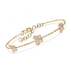 """.34 ct. t.w.Diamond Butterfly Bracelet in 14kt Yellow Gold. 7"""", , default"""