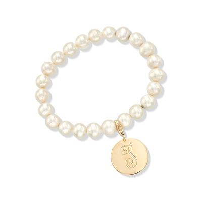 8-8.5mm Cultured Pearl Bracelet with 14kt Yellow Gold Personalized Disc Charm, , default