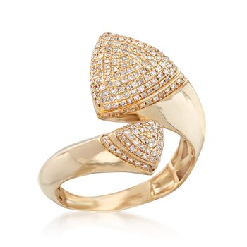 .32 ct. t.w. Pave Diamond Triangle Bypass Ring in 14kt Yellow Gold. Size 5, , default