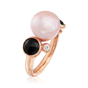 C. 1990 Vintage Mimi Milano 6mm Violet Cultured Pearl, Black Onyx and .10 ct. t.w. Diamond Ring in 18kt Rose Gold. Size 5.75