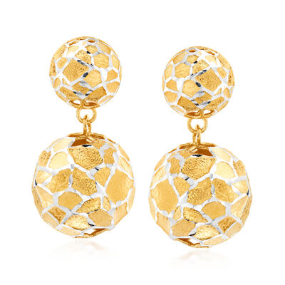 Italian 18kt Gold Over Sterling Silver Bead Drop Earrings