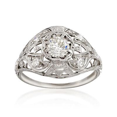 C. 1950 Vintage .52 ct. t.w. Diamond Engagement Ring in Platinum, , default