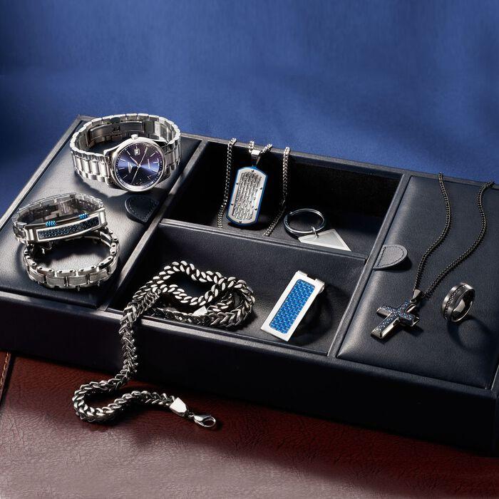 Men's Black and Blue Stainless Steel Bracelet with Black and Blue Carbon Fiber