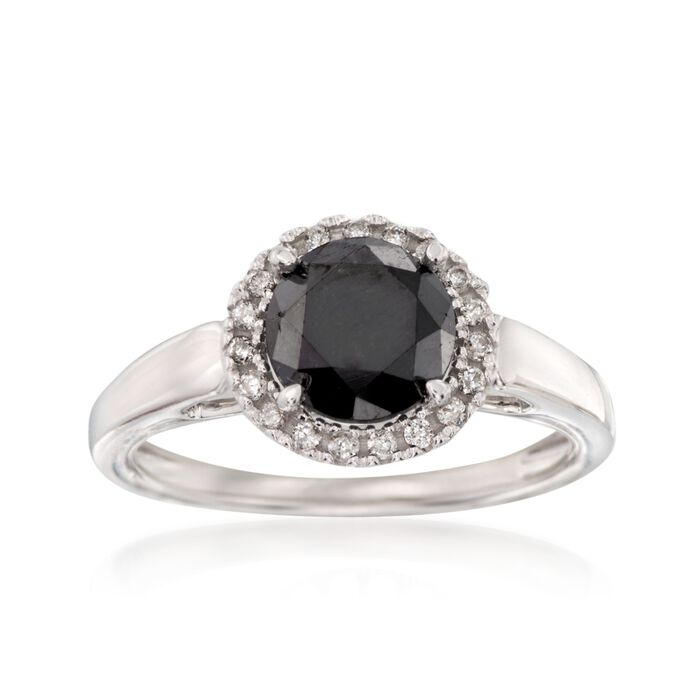 2.00 Carat Black Diamond Ring with .13 ct. t.w. White Diamonds in 14kt White Gold