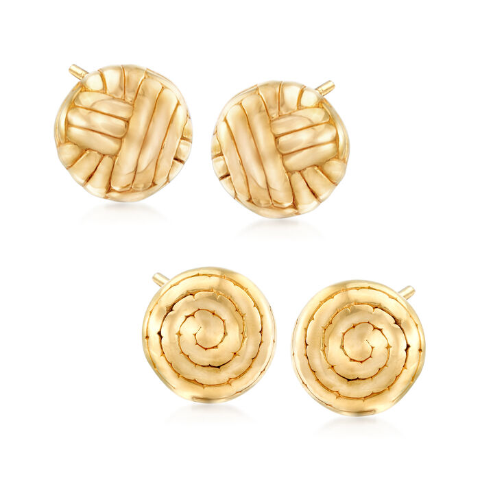 Italian 18kt Gold Over Sterling Jewelry Set: Two Pairs of Puff Swirl and Line Pattern Stud Earrings, , default