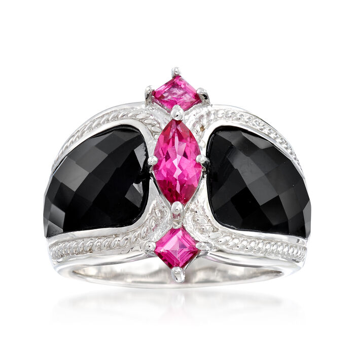 Black Agate and 1.00 ct. t.w. Pink Topaz Ring in Sterling Silver, , default