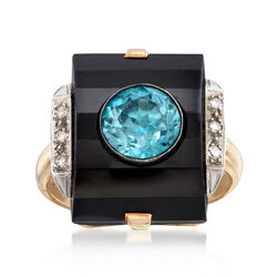 C. 1950 Vintage Black Onyx and 1.85 Carat Blue Zircon Ring With Diamond Accents in 14kt Yellow Gold, , default