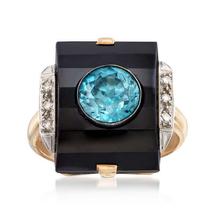 C. 1950 Vintage Black Onyx and 1.85 Carat Blue Zircon Ring With Diamond Accents in 14kt Yellow Gold. Size 5.75, , default