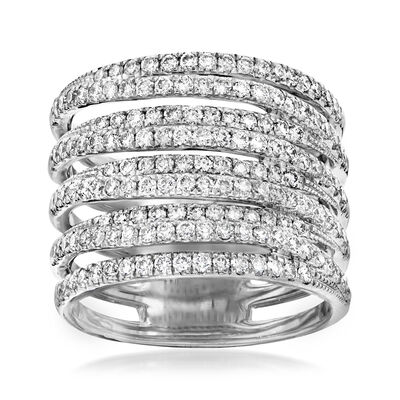1.50 ct. t.w. Diamond Multi-Row Ring in 14kt White Gold