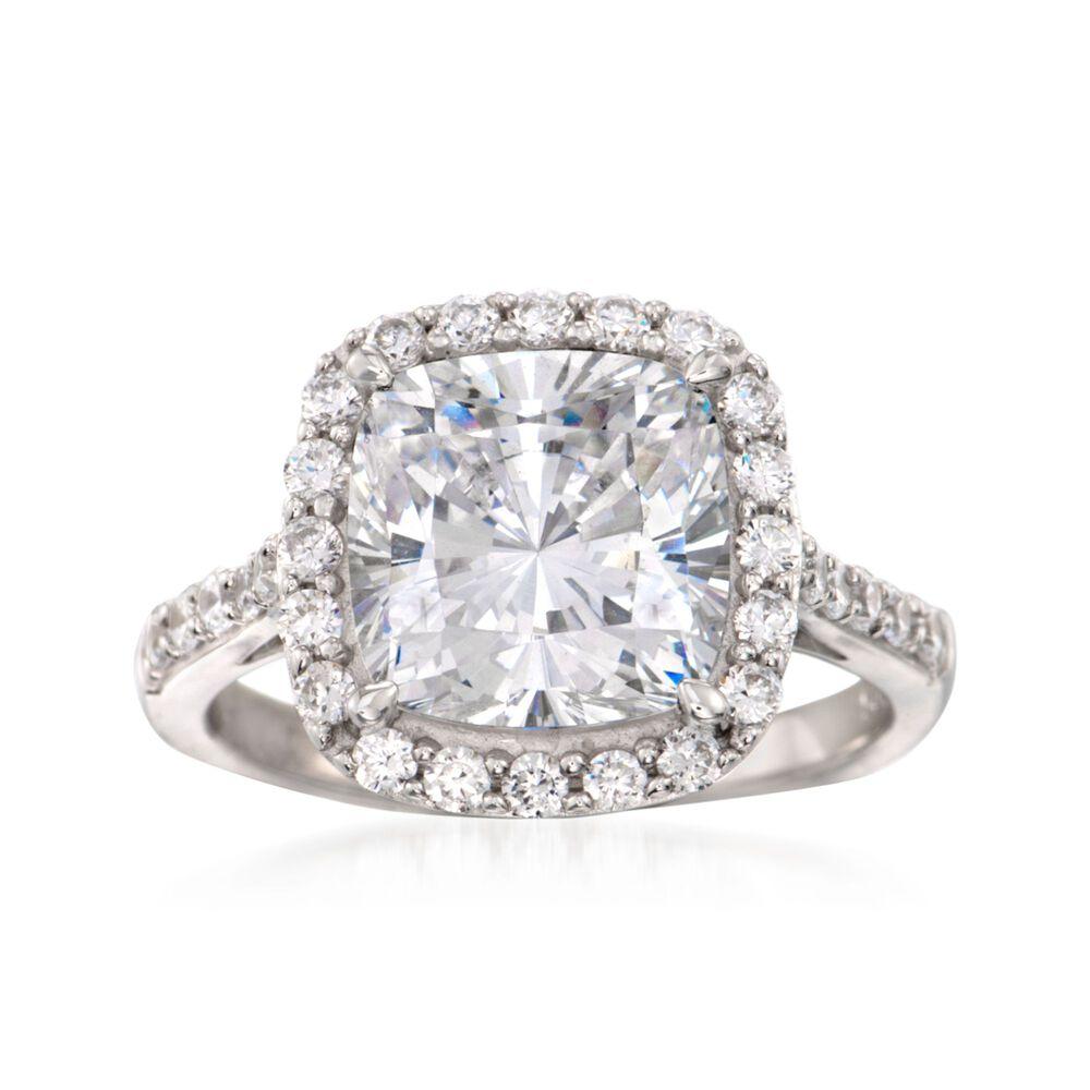 de5e704181bf7 5.10 ct. t.w. CZ Halo Ring in Sterling Silver
